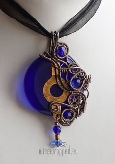 Cobalt blue steampunk round pendant by *ukapala on deviantART