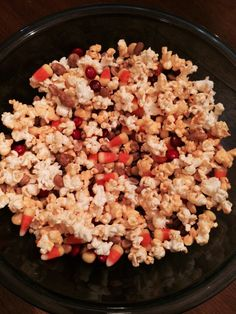 Best Halloween snack ever! My boys just love it!  Mix together: Buttery popcorn Candy corn Plain m&ms  Honey roasted peanuts  Everybody is happy!