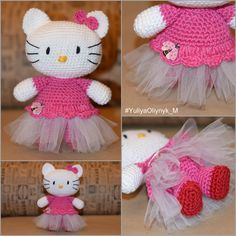 Hello Kitty, Hello Kitty amigurumi, Dancer Hello Kitty, Printsess Hello Kitty, Crochet Doll,Ballet Hello Kitty, Pink Hello Kitty , Kitty by KnitwearByYuliyaO on Etsy