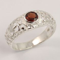 Amazing Ring Size US 7 Natural GARNET Round Faceted Gemstone 925 Sterling Silver #Unbranded