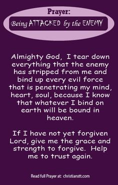 Prayer to bind evil forces when attacked by the Enemy