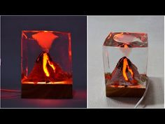 Hi everyone, Check out my amazing Led Volcano. In this video you will see very simple way to make volcano lamp :D In the video you have SUBTITLES of every LI. Resin Crafts, Resin Art, Making A Volcano, Crystal Resin, Fire Art, Night Lamps, Pompeii, Craft Work, Decor Crafts