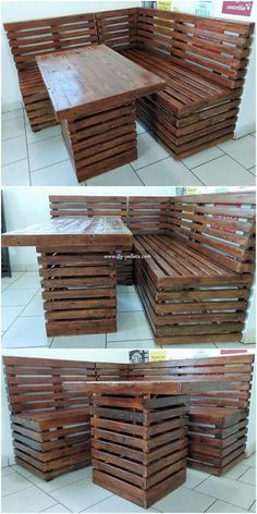 Incredible DIY Projects from Recycled Wood Pallets: Do you have wood pallet furniture in your house? Did you ever get the feeling impression that this wood pallet is giving you out the feel. Pallet Furniture Lounge, Pallet Furniture Blueprints, Pallet Bench Diy, Diy Outdoor Furniture, Reclaimed Wood Furniture, Pallet Sofa, Diy Furniture, Small Pallet, Garden Furniture
