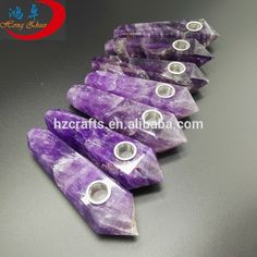 Hot selling natural crystal stone carved pipes amethyst crystal pipes purple crystal pipes
