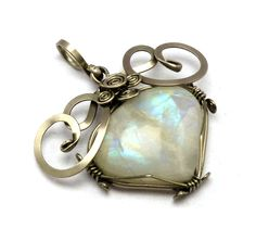 Wire Wrapped Pendant with Rainbow Moonstone by hyppiechic.deviantart.com on @deviantART