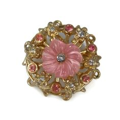 Pink Thermoset Coro Brooch Pink Clear Rhinestones by TheFashionDen