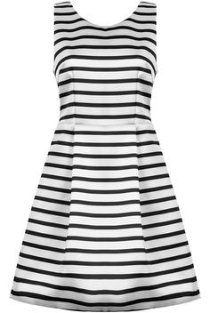 Black Striped Skater Prom Dress  from Bang on the Trend. Horizontal Stripes Zip back Sleeveless dress.