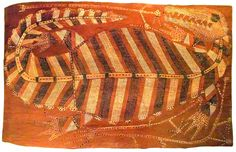 Crocodile - Australian Aboriginal Art...This great crocodile from Australian art struggles with hunters figures at his side. All the composition created with lines and dots, playing with the three main tones, black, white and earth colors.