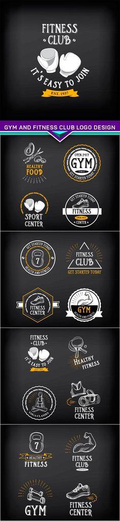 Gym and fitness club logo design sport badge 5X EPS