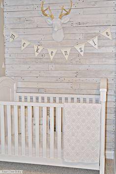White Washed Pallet Wall/Fawn Over Bab Diy Pallet Wall, Pallet Walls, Diy Wall, Palette, Baby On The Way, Home Decor Inspiration, Nurseries Baby, New Homes, Nursery