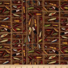Norman Rockwell Vintage Bait Box Brown fabric $9.20 per yard