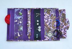 Jewelry organizer Roll storage jewelry Travel organizer Jewelry holder Bijou bag Purple paisley pattern Jewelry travel case (44.90 USD) by Anilachan