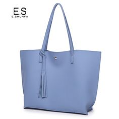 777250ee8135 Fashion Casual Shoulder Bags For Women 2017 Summer PU Leather Tote Bag With  Tassel Large Capacity. Click visit to buy