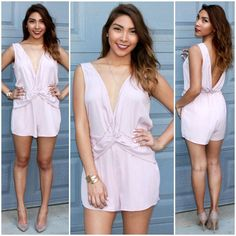 a37231a9d722 Take the Plunge blush pink romper from Social Butterfly House.  lowback   deepv