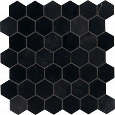 2 x 2 black hex tile with gray grout