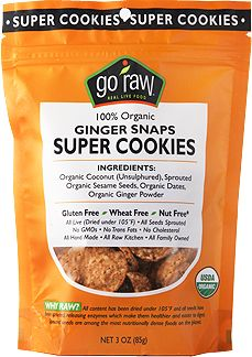 100% organic Ginger Snaps Super Cookies   160 calories, 4 grams of fiber and 11 grams of sugars in 18 delicious pieces   Ingredients: organic coconut (unsulphured), sprouted organic sesame seeds, organic dates, organic ginger powder   gluten free, wheat free, nut free   no GMOs, no trans fats   all raw & vegan