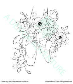 Instant Download Digital Stamp Ballet Flower by