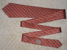 "HERMES PARIS 100% Silk Neck Tie Chain Links Red Made In France 7524 IA MINT 58"" #Herms #Tie"