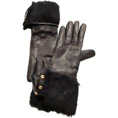 Diane von Furstenberg Rabbit Lined Snap Glove ($242) found on Polyvore