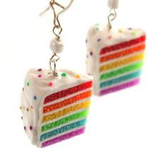 Rainbow cake earrings ($30) ❤ liked on Polyvore featuring jewelry, earrings, ribbon jewelry, colorful earrings, ribbon earrings, earrings jewelry and multicolor jewelry