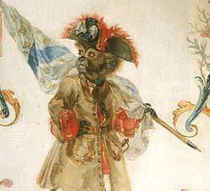 Grande Singerie du Château de Chantilly - Détail du panneau de boiserie avec le singe porte-drapeau, allégorie de la Guerre