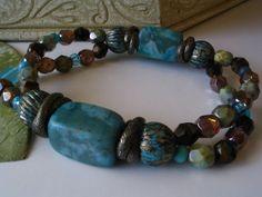Turquoise mist stretchy beaded bracelet