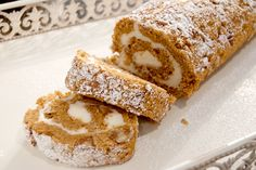 Cream Cheese Filled Pumpkin Roll from @Lana Stuart | Never Enough Thyme http://www.lanascooking.com/2010/10/12/cream-cheese-filled-pumpkin-roll/