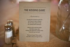 Kissing Game - something like this would be funny. especially since the clinking glasses ALL NIGHT LONG could get bothersome. I am SO doing this! It would be hilarious!