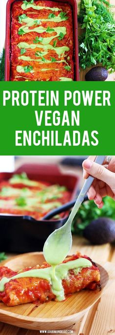 Protein Power #Vegan #Enchiladas | This easy vegan enchiladas recipe is not only delicious but also very rich in proteins! Made with quinoa and beans and lots of vegan cheese on top, this vegan enchiladas recipe is the perfect comfort food! https://gourmandelle.com/vegan-enchiladas/