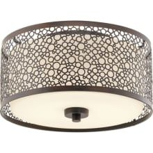 """Mingle LED Single Light 11"""" LED Flush Mount Ceiling Fixture with Etched Parchment Shade"""
