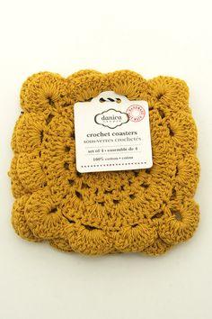 Crochet Coaster Set Honey