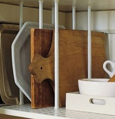 Small Kitchen Organizing Ideas - Pantry Dividers - Click Pic for 42 DIY Kitchen Organization Ideas & Tips Are those tension rods? Organisation Hacks, Kitchen Organization, Storage Organization, Organizing Ideas, Storage Ideas, Organized Kitchen, Pantry Storage, Extra Storage, Cabinet Storage