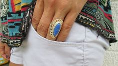 Blue Lapis Sterling Silver Ring Elongated Boho by WeeLambieVintage