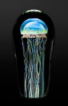 Bring a sting of glowing beauty to your shelf or table top with a lively jellyfish captivated in a glass dome. Moon Jellyfish Medium by Richard Satava: Art Glass Sculpture available at www.artfulhome.com