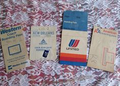Old Western Airlines Delta United American Boarding Passes Seat Assignments 4 pc