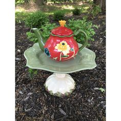 Cottage garden art, teapot whimsy, ceramic birdfeeder, upcycled... ($45) ❤ liked on Polyvore featuring home, outdoors, outdoor decor, outdoor garden decor, bird bath, ceramic bird bath, garden bird bath and outdoor yard decor