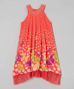 Another great find on #zulily! Coral Bubbles & Butterflies Dress - Girls #zulilyfinds