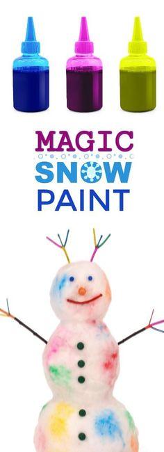 "MAGIC SNOW PAINT- easy to make & so fun!  My kids had a blast hunting for ""magic snow!"" #snowpaintrecipe #winterplayrecipe #wintercraftforkids"