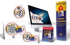 Declinazione campagna Carta Conforama su vari materiali per i punti vendita Conforama.
