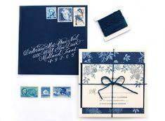 Oh So Beautiful Paper: DIY Tutorial: Indigo Floral Print Wedding Invitations