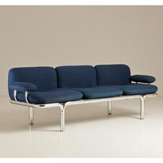 Anonymous; Tubular Chromed Metal Frame Sofa by Pace, 1960s.