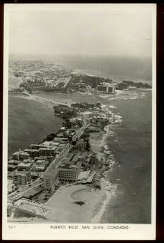 Puerto  Rico, Great vintage aerial view of the Condado, Caribe Hilton in the background.