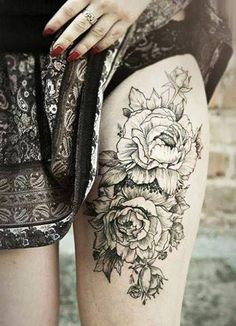 Gorgeous peonies tattoo on thigh for women by severinenko Girl Thigh Tattoos, Floral Thigh Tattoos, Thigh Tattoo Designs, Tattoo Designs And Meanings, Tattoo Designs For Women, Sexy Tattoos, Flower Tattoos, Body Art Tattoos, Sleeve Tattoos