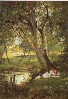 Woman reading by stream, Sir Samuel Luke Fildes (English, 1843 – Classic Paintings, Old Paintings, Beautiful Paintings, Renaissance Kunst, Classical Art, Parcs, Pretty Art, Aesthetic Art, Landscape Art