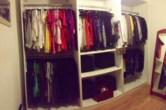 Here is my walk in (room) closet. PAX closet system all white from Ikea.  So in love with my closet!