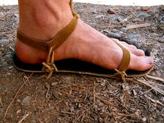 Rawhide Sandals from a cow hide with buckskin straps.my new barter trade craft. Leather Sandals, Tan Leather, My Left Foot, Shoe Pattern, Leather Projects, Free Clothes, Huaraches, Leather Working, Slippers