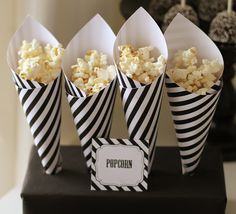 Black and white popcorn cones... great to watch with spooky (or not-so-spooky) movies
