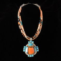 4-Strand Kingman, Spiny Oyster, & Onyx Inlay Necklace by Will Denetdale