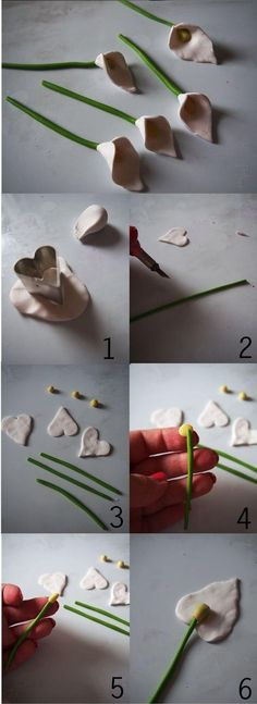 Instructions for making flowers with polymer clay - DIY Fimo / Clay - Easy Polymer Clay, Diy Fimo, Polymer Clay Kunst, Polymer Clay Flowers, Fimo Clay, Polymer Clay Projects, Polymer Clay Charms, Ceramic Flowers, Polymer Clay Creations