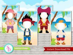 Jake y los piratas de Neverland Photo Booth apoyar (Jake, Izzy, Cubby y Capitán Garfio) - descarga inmediata (archivo Digital)
